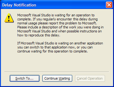 VS Delay Notification dialog
